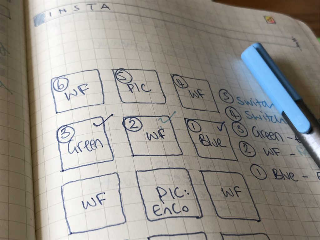 Hand written plan for Instagram grid